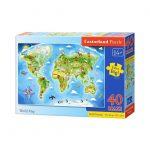 Παζλ με 40 Maxi Μεγάλα Κομμάτια Extra Big για 4 ετών+ World Map B-040117 Castorland