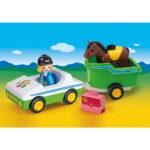 Σειρά 123 Όχημα με τρέιλερ μεταφοράς αλόγου 70181 Playmobil-2