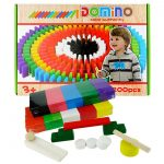 200 Pcs Domino Bricks Wooden Rainbow Colored