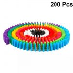 200 Pcs Domino Bricks Wooden Rainbow Colored2