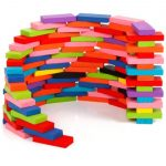 200 Pcs Domino Bricks Wooden Rainbow Colored3