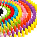 200 Pcs Domino Bricks Wooden Rainbow Colored4